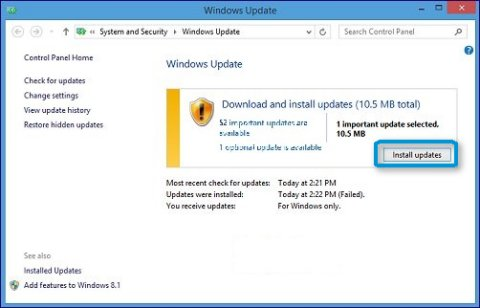 Botón Instalar actualizaciones en Windows Update.