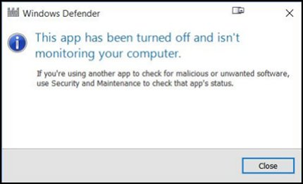 HP PCs - A 'This app has been turned off' Windows Defender