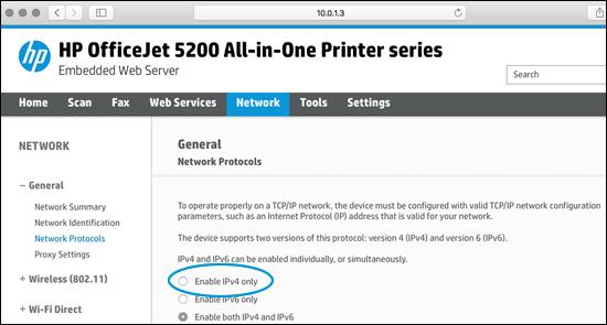 Network Protocols screen