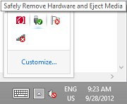 Safely remove hardware feature in taskbar