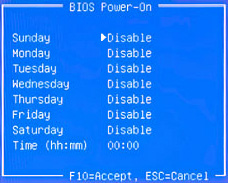 BIOS Power-On menu