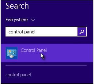 typing control panel into the search charm