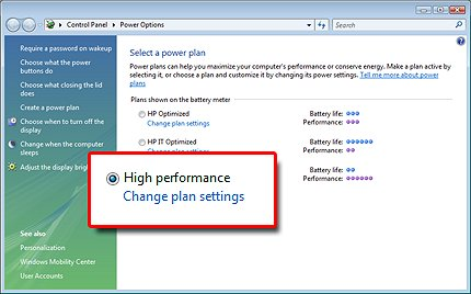 how to change power settings while plugged in