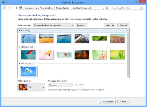Image of the Windows 8 background selections.