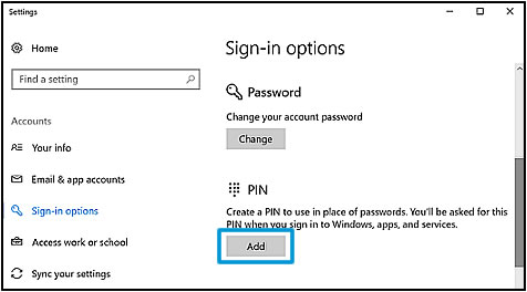 Selecting Add in the  PIN area of the Sign-in options window