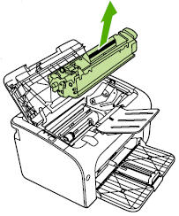 Illustration of removing the print cartridge.