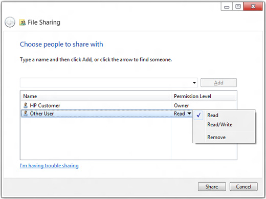 File Sharing window