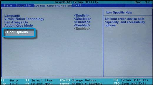 Boot Options selection in the System Configuration window