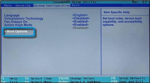 Selección de Opciones de arranque en la ventana Configuración del sistema