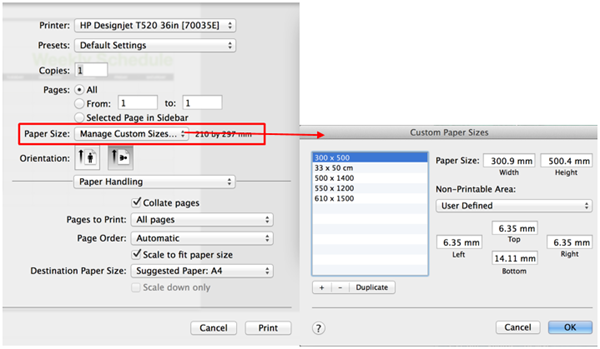 Specifying a custom paper size