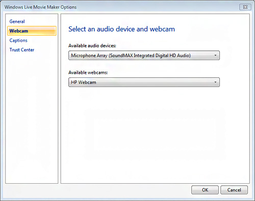 Image of Select audio device and webcam window