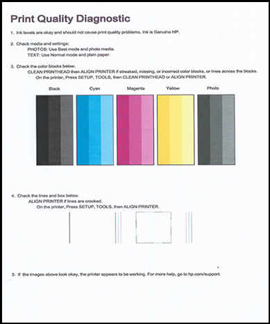 Illustration : Page de diagnostic de la qualité d'impression