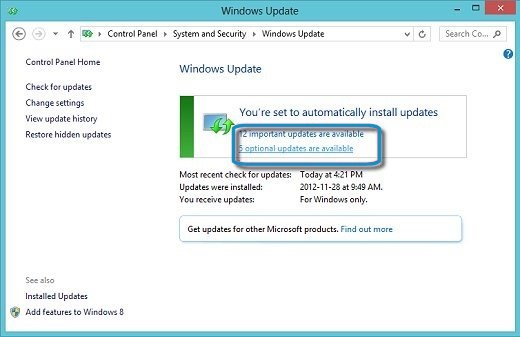 Windows Update with Important and Optional update selections called out