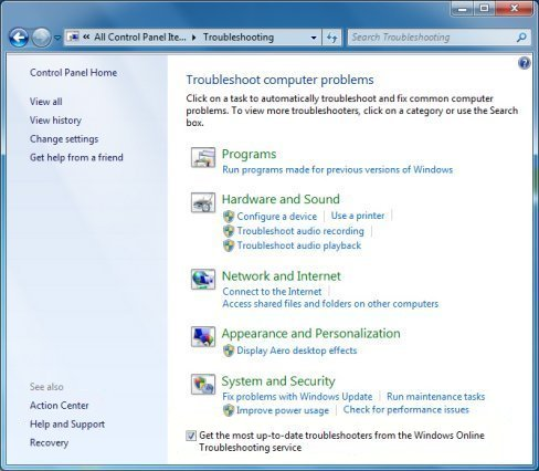 how to open audio troubleshooter windows 7