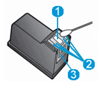 The ink nozzle and ink cartridge contacts.