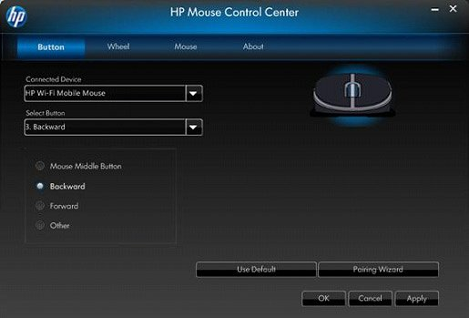 Image of the Mouse Control Center's Button tab - Backward setting.
