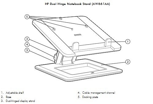 Image of the  HP Dual Hinge Notebook Stand with callouts for each component.