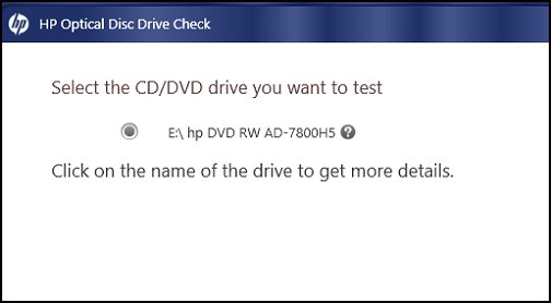 CD/DVD drive to test selection screen