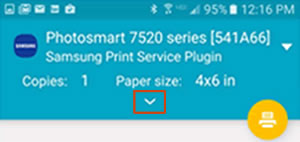Opening the print settings menu