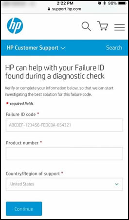 An example of Failure ID on a mobile device
