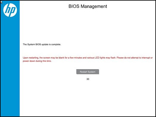 BIOS Management: The System BIOS update is complete