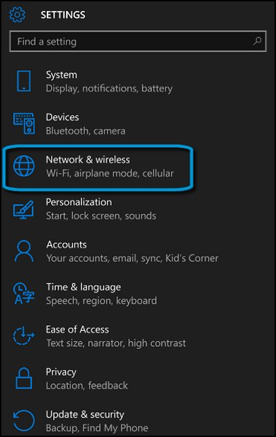 Settings screen with Network & wireless highlighted