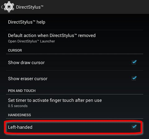 Handedness setting in the DirectStylus menu