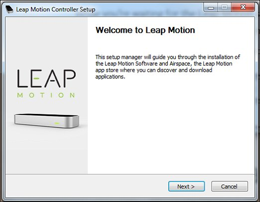 Leap Motion setup manager Welcome window