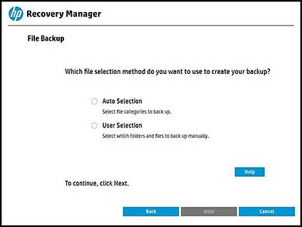 Selecting a backup method