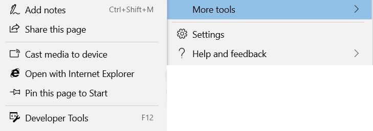 The Edge tools More Tools submenu