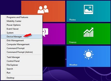Image of lower left corner menu with Device Manager selected