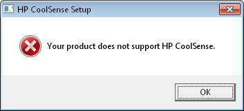 Image of HP CoolSense is not support on this machine message.