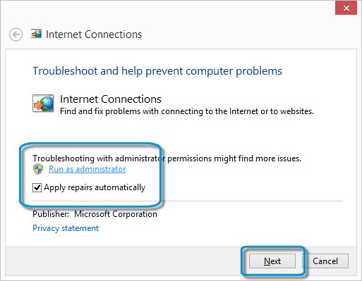 Internet Connections window with the selections Run as administrator, Apply repairs automatically, and the Next button  highlighted