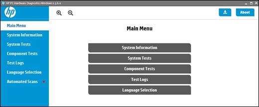 HP PC Hardware Diagnostics main menu