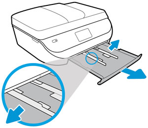 Hp deskjet officejet 5200 printers first time printer setup hp adjusting the paper width guides ccuart Images