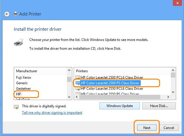 HP LaserJet - Install the driver for an HP printer on a
