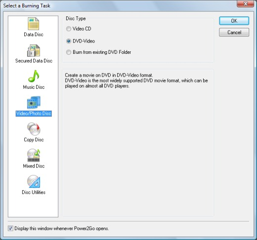 Image of Select a Burning Task window