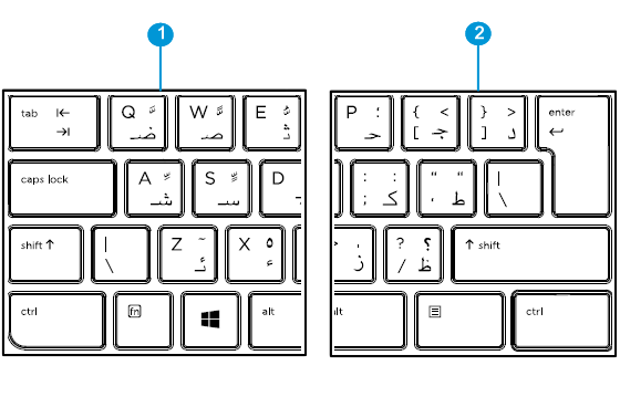 Arabic keyboard detail left and right