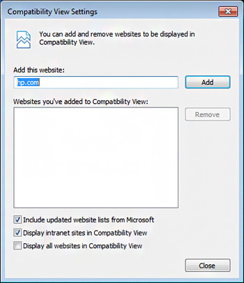 Image of Compatibility View Settings window