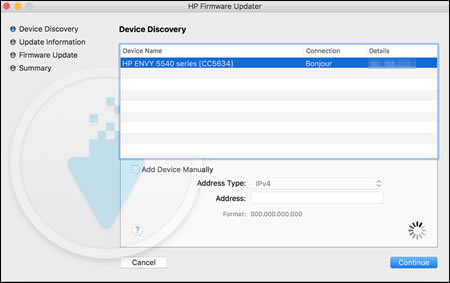 Device Discovery window with printer selected