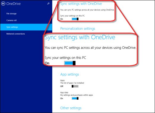 The slider to turn sync settings across devices on or off