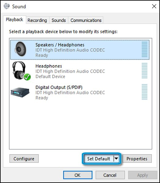 Set default playback device