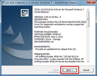 HP Z420、Z620、Z820 - LSI SAS 2308/9212-4i ドライバーの
