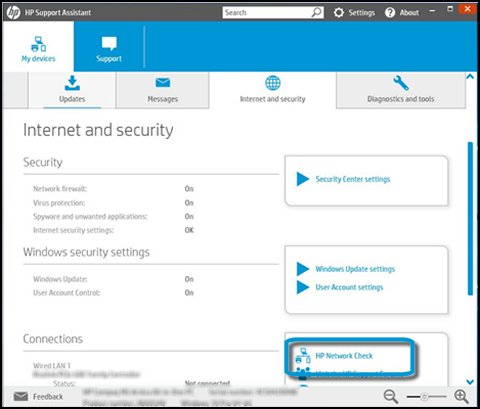 Internet and security options with HP Network Check highlighted