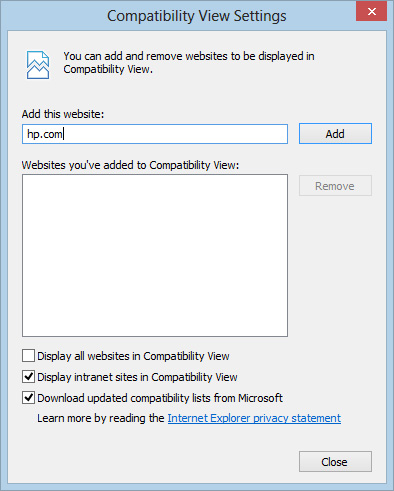Compatibility View Settings window