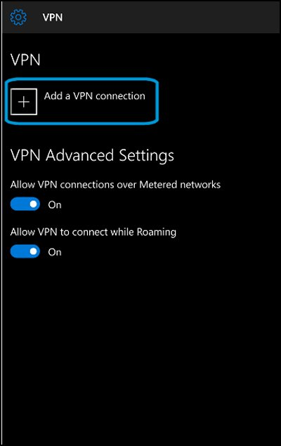 VPN screen with Add a VPN connection highlighted