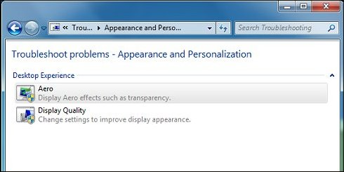 Troubleshoot problems - Appearance and Personalization