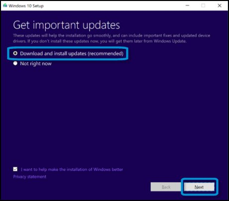 Selecting Download and install updates (recommended) on the Get important updates window