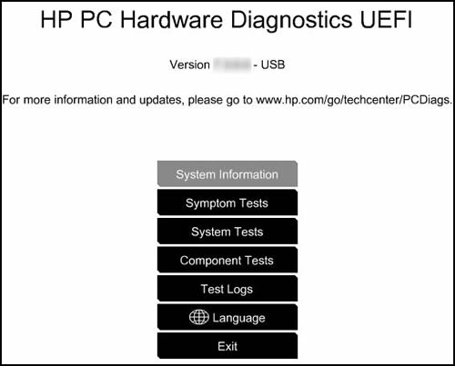 Pantalla de Diagnósticos de hardware de PC HP - UEFI
