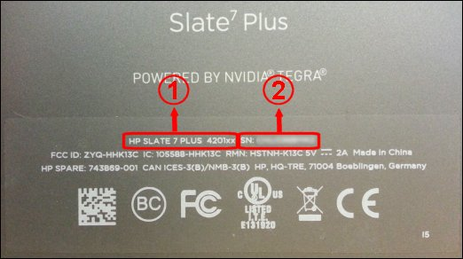 Label on back of tablet showing model number and serial number (example)